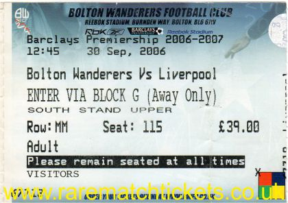 2006-07 EPL BOLTON WANDERERS 2 [LIVERPOOL] 0